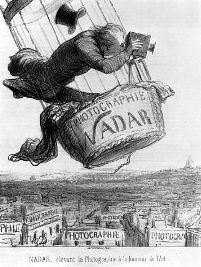 Daumier, Nadar elevating photography, 1844