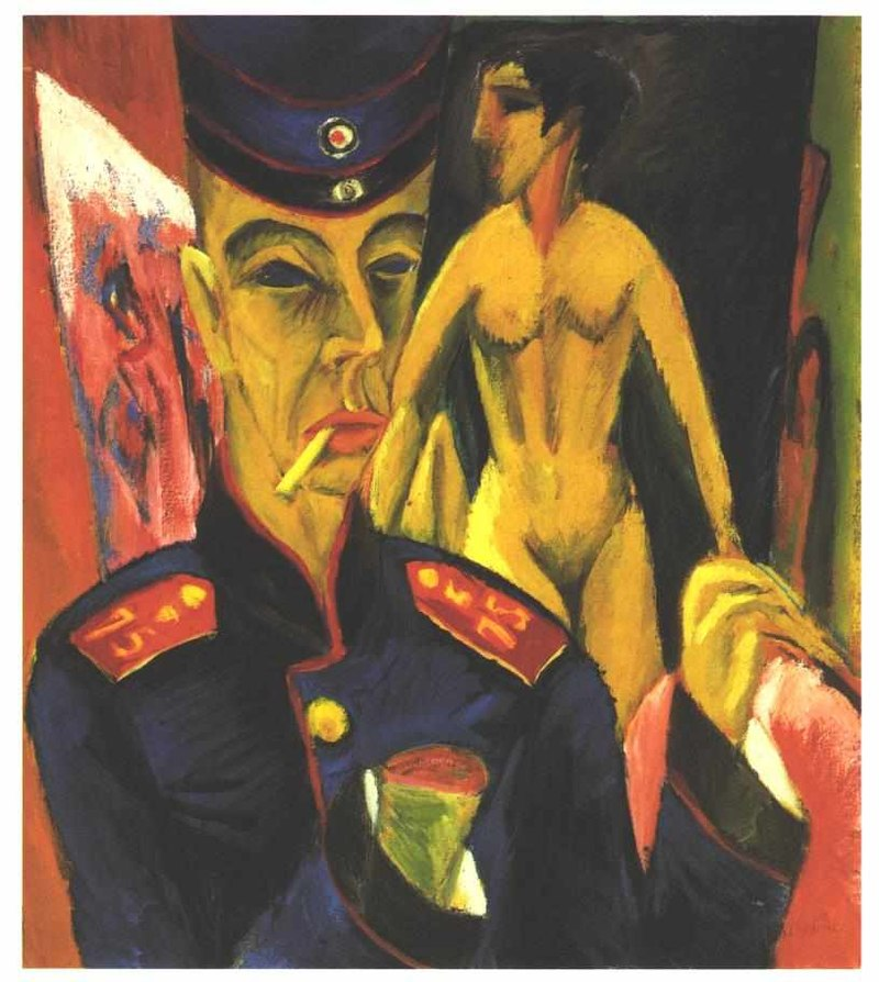 Kirchner, Self Portrait as a soldier, 1915