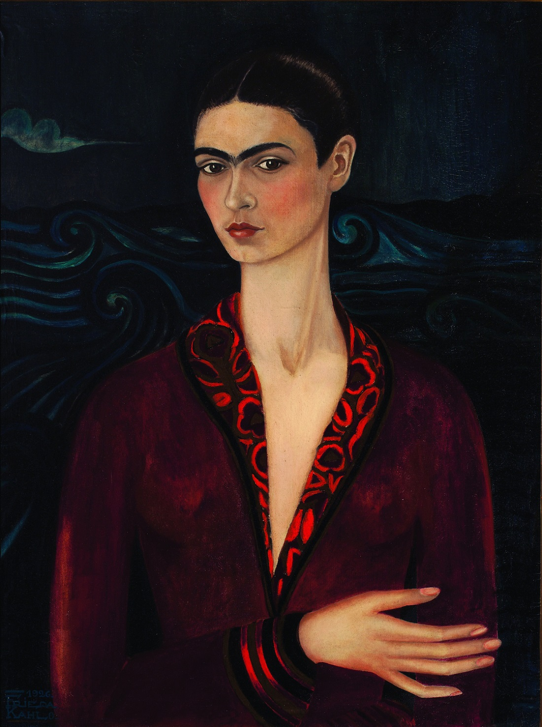 Frida Kahlo, Self-portrait with red velvet dress, 1926