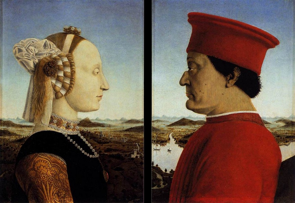 Pierro della Francesca, Portraits of the Duke and Duchess of Urbino, 1467-70