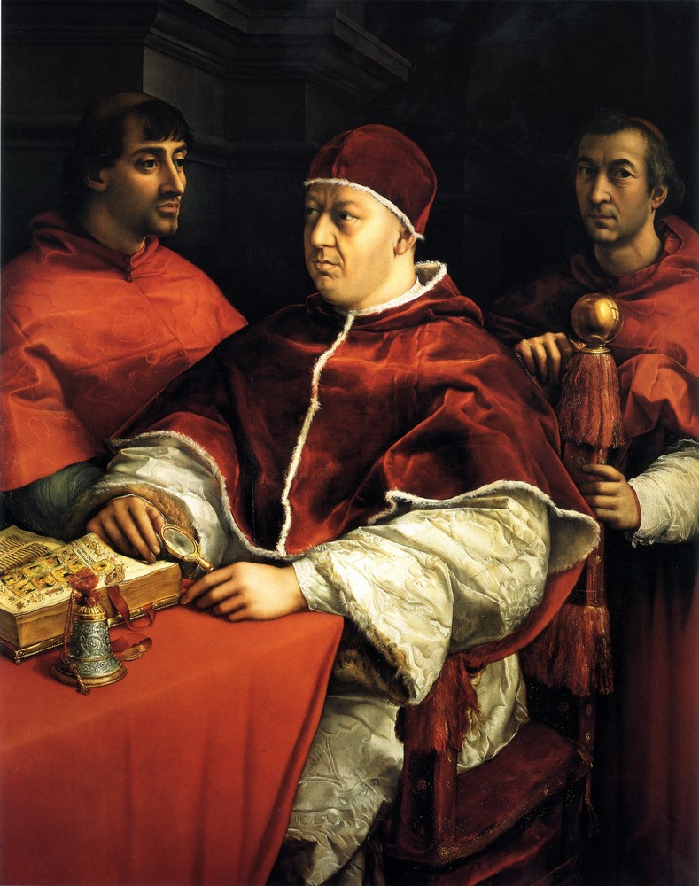 Raffaello, Pope Leo X with Cardinals Giulio de Medici and Luigi de Rossi